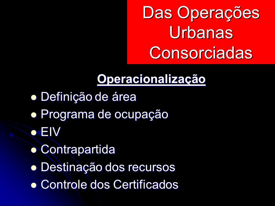 Operacionalização Definição de área Definição de área Programa de ocupação Programa de ocupação EIV EIV Contrapartida Contrapartida Destinação dos rec