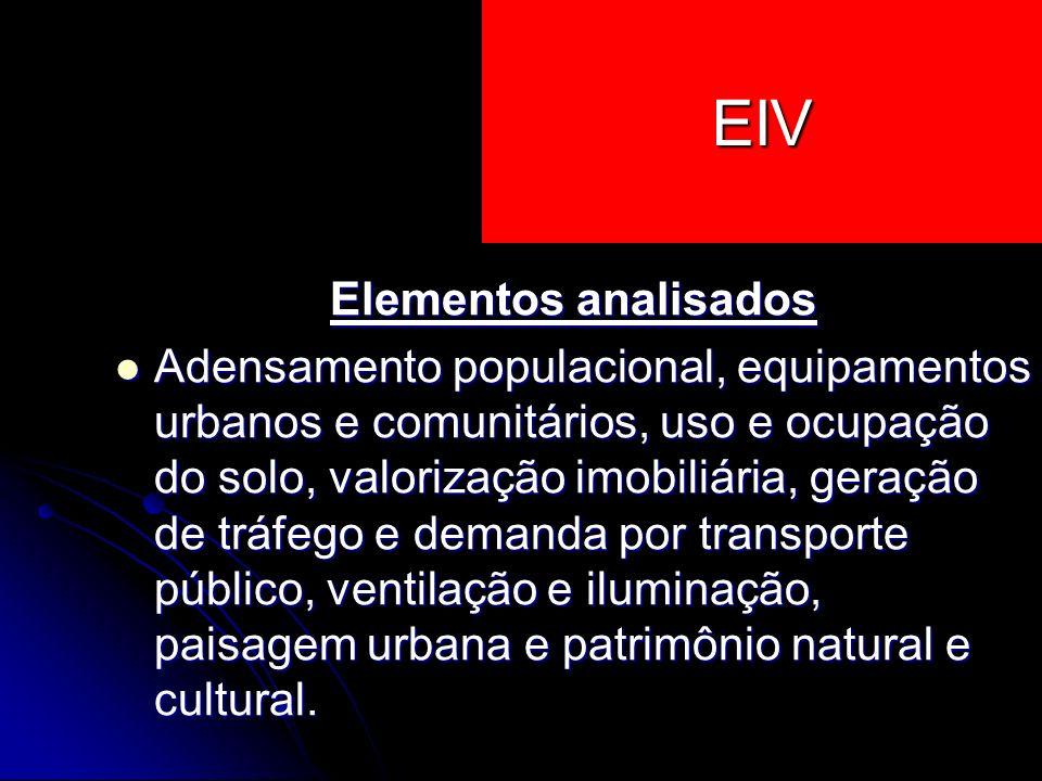 EIV Elementos analisados Adensamento populacional, equipamentos urbanos e comunitários, uso e ocupação do solo, valorização imobiliária, geração de tr
