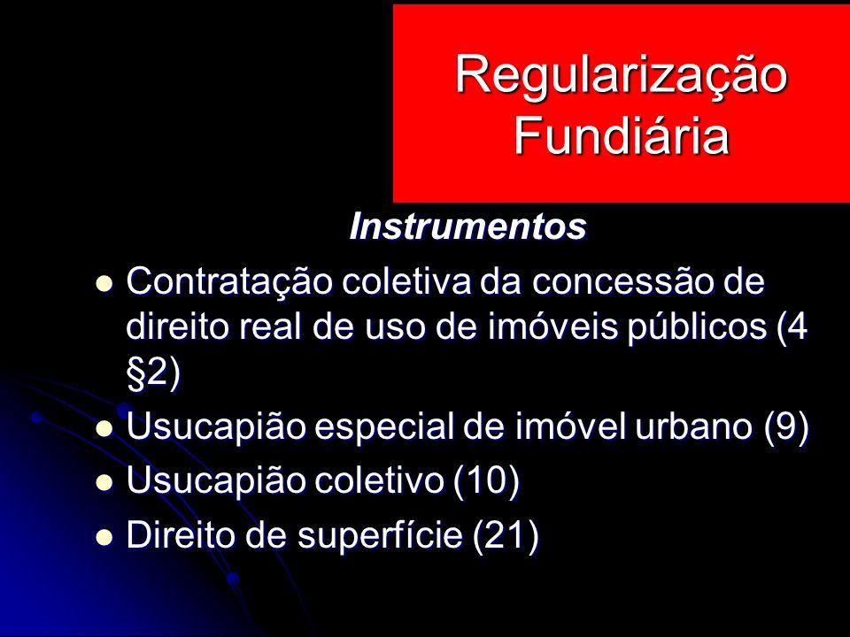 Instrumentos Contratação coletiva da concessão de direito real de uso de imóveis públicos (4 §2) Contratação coletiva da concessão de direito real de