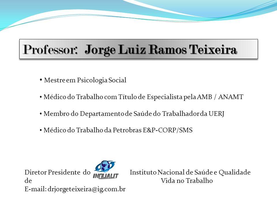 Professor: Jorge Luiz Ramos Teixeira Mestre em Psicologia Social Médico do Trabalho com Título de Especialista pela AMB / ANAMT Membro do Departamento