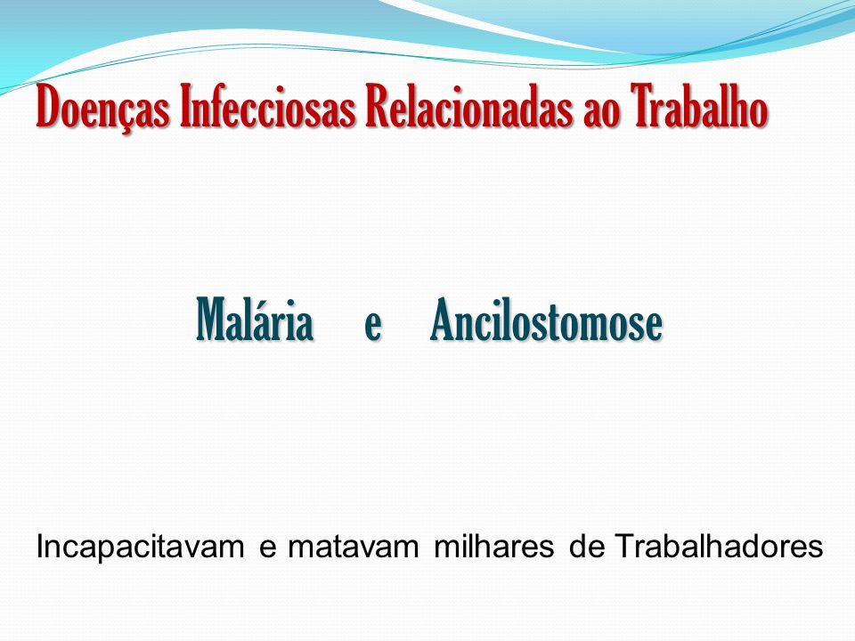 Doenças Infecciosas Relacionadas ao Trabalho Malária e Ancilostomose Incapacitavam e matavam milhares de Trabalhadores
