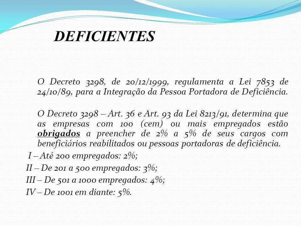 O Decreto 3298, de 20/12/1999, regulamenta a Lei 7853 de 24/10/89, para a Integra ç ão da Pessoa Portadora de Deficiência. O Decreto 3298 – Art. 36 e