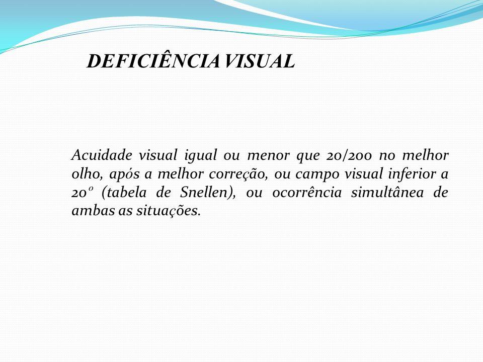 Acuidade visual igual ou menor que 20/200 no melhor olho, ap ó s a melhor corre ç ão, ou campo visual inferior a 20 º (tabela de Snellen), ou ocorrênc