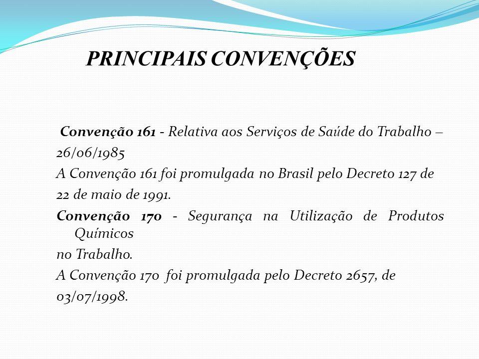 Conven ç ão 161 - Relativa aos Servi ç os de Sa ú de do Trabalho – 26/06/1985 A Conven ç ão 161 foi promulgada no Brasil pelo Decreto 127 de 22 de mai