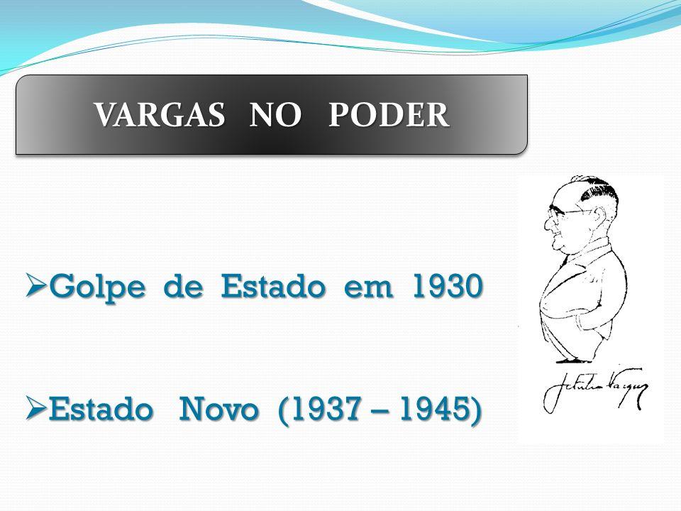 VARGAS NO PODER Golpe de Estado em 1930 Golpe de Estado em 1930 Estado Novo (1937 – 1945) Estado Novo (1937 – 1945)