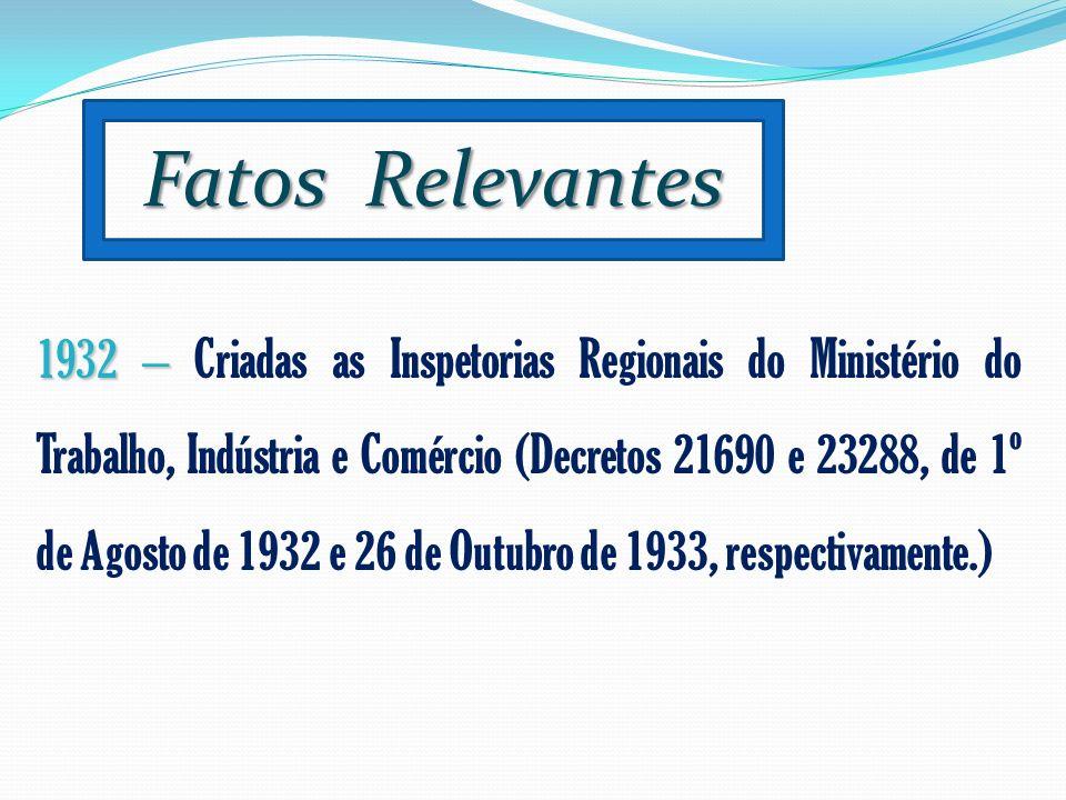 Fatos Relevantes 1932 – 1932 – Criadas as Inspetorias Regionais do Ministério do Trabalho, Indústria e Comércio (Decretos 21690 e 23288, de 1º de Agos