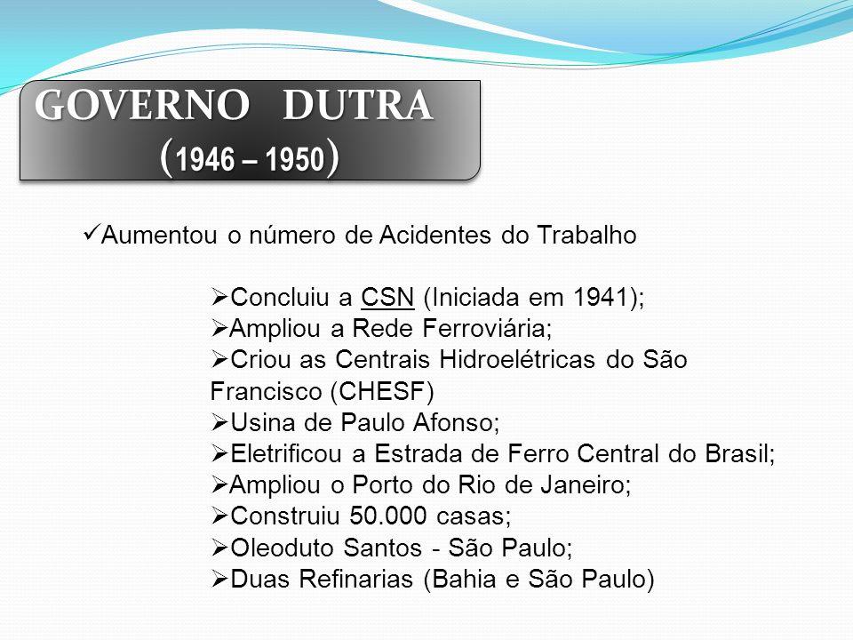 GOVERNO DUTRA ( 1946 – 1950 ) GOVERNO DUTRA ( 1946 – 1950 ) Aumentou o número de Acidentes do Trabalho Concluiu a CSN (Iniciada em 1941); Ampliou a Re