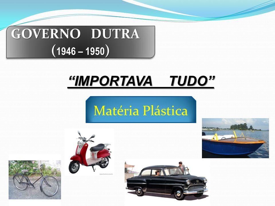 GOVERNO DUTRA ( 1946 – 1950 ) GOVERNO DUTRA ( 1946 – 1950 ) IMPORTAVA TUDO Matéria Plástica