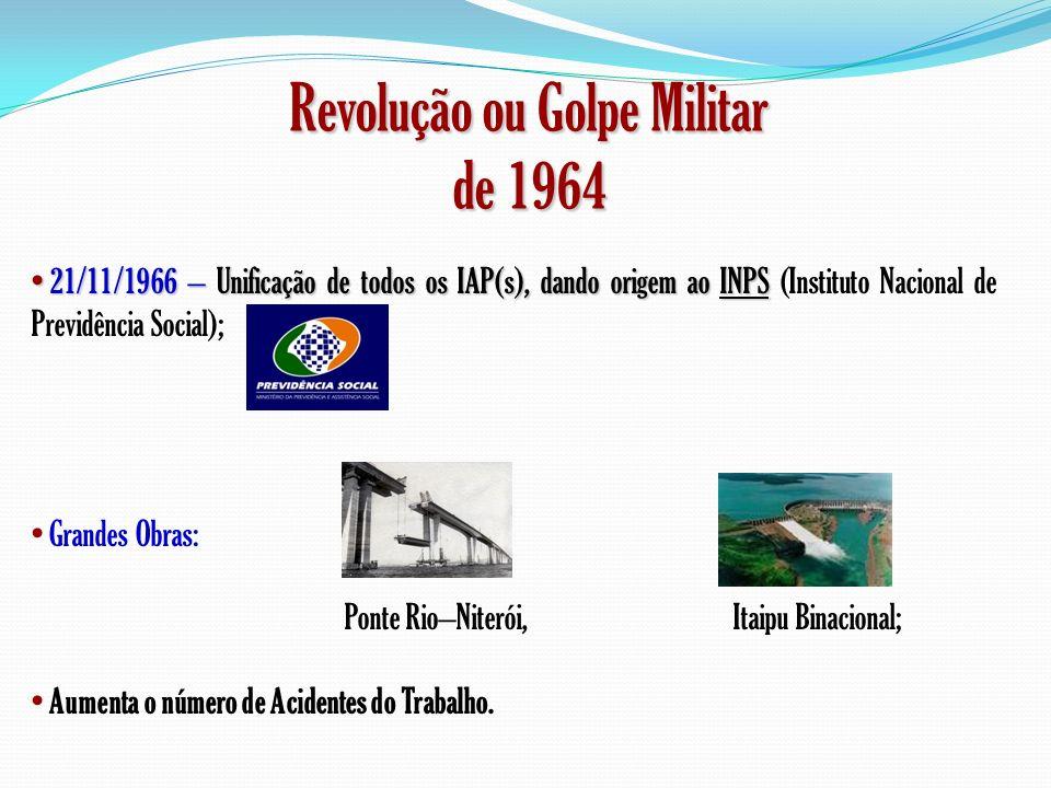 Revolução ou Golpe Militar de 1964 21/11/1966 – Unificação de todos os IAP(s), dando origem ao INPS 21/11/1966 – Unificação de todos os IAP(s), dando
