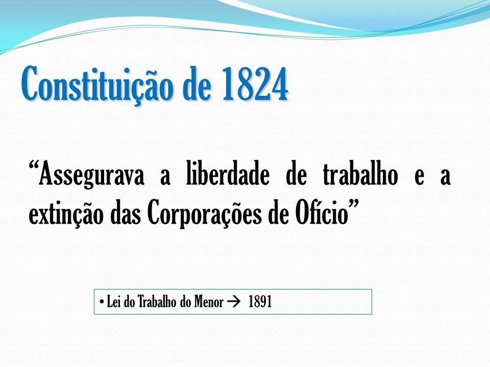 Constituição de 1824 Assegurava a liberdade de trabalho e a extinção das Corporações de Ofício Lei do Trabalho do Menor 1891