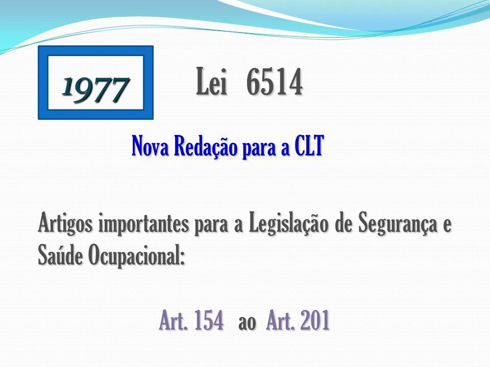 1977 Lei 6514 Nova Redação para a CLT Artigos importantes para a Legislação de Segurança e Saúde Ocupacional: Art. 154 ao Art. 201