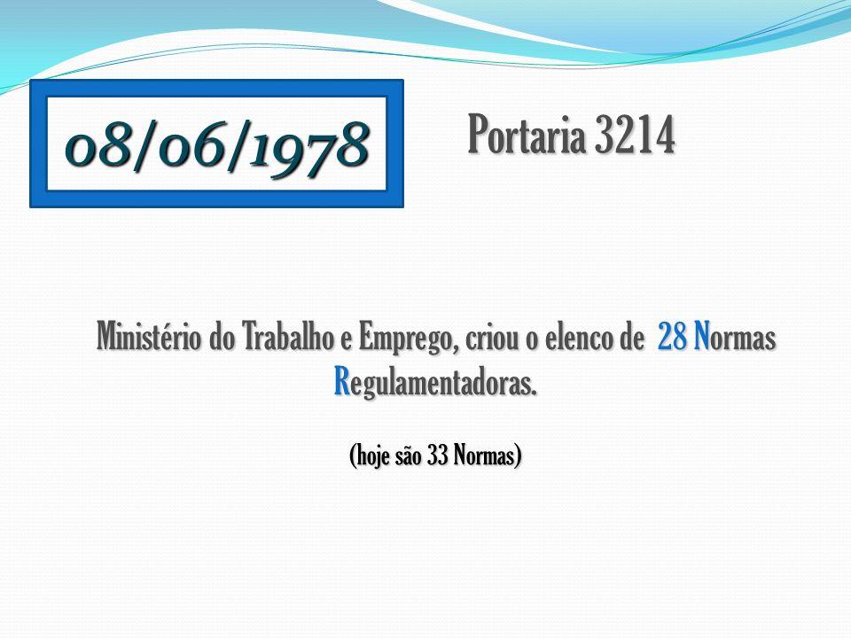08/06/1978 Portaria 3214 Ministério do Trabalho e Emprego, criou o elenco de 28 Normas Regulamentadoras. (hoje são 33 Normas)
