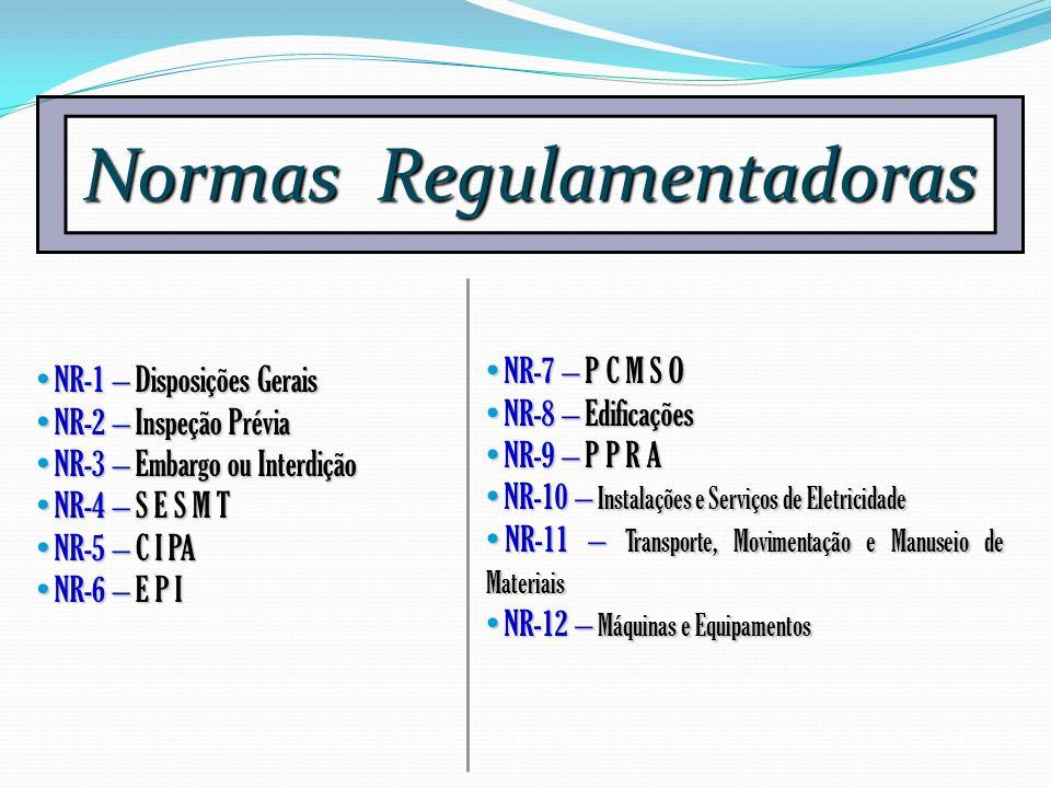 Normas Regulamentadoras NR-1 – Disposições Gerais NR-1 – Disposições Gerais NR-2 – Inspeção Prévia NR-2 – Inspeção Prévia NR-3 – Embargo ou Interdição