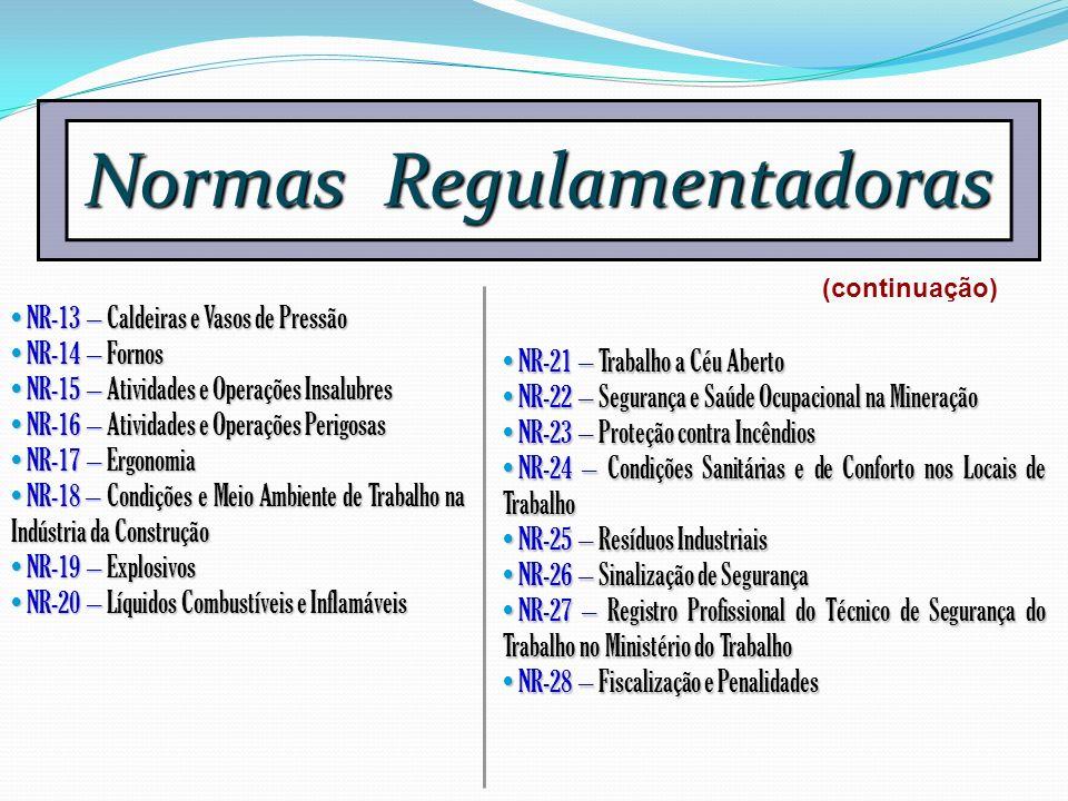 Normas Regulamentadoras NR-13 – Caldeiras e Vasos de Pressão NR-13 – Caldeiras e Vasos de Pressão NR-14 – Fornos NR-14 – Fornos NR-15 – Atividades e O