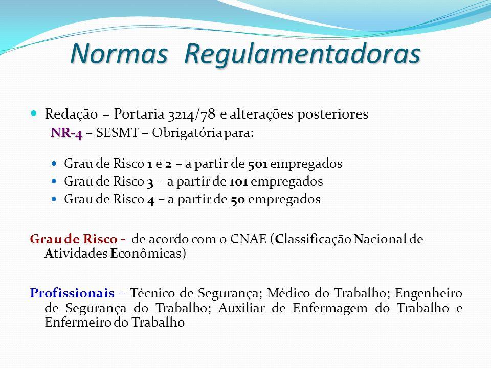 Redação – Portaria 3214/78 e alterações posteriores NR-4 NR-4 – SESMT – Obrigatória para: Grau de Risco 1 e 2 – a partir de 501 empregados Grau de Ris