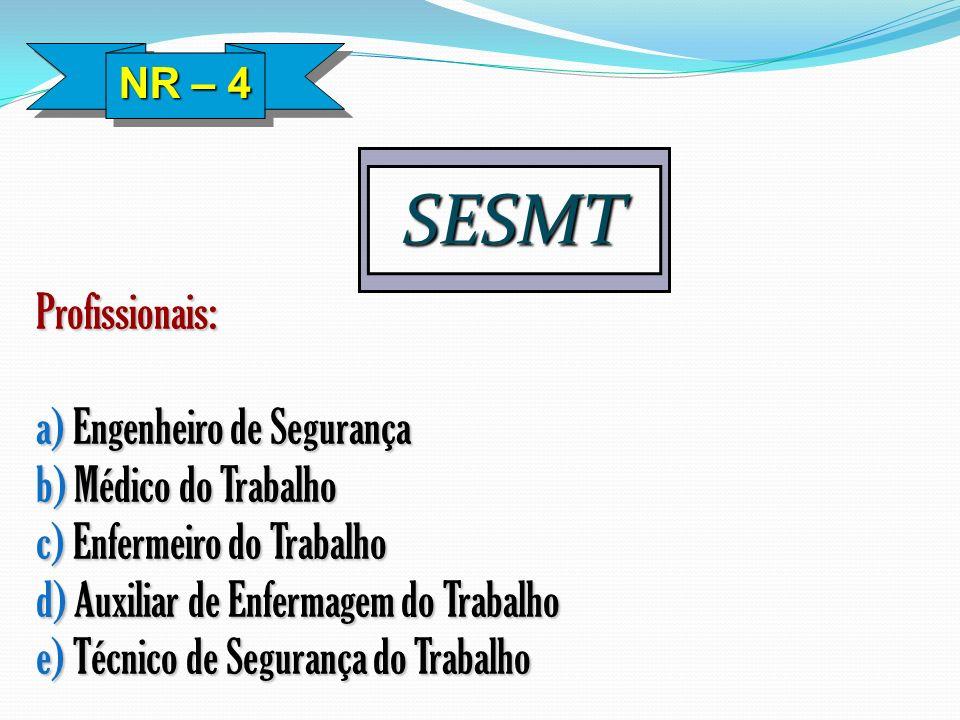 SESMT Profissionais: a) Engenheiro de Segurança b) Médico do Trabalho c) Enfermeiro do Trabalho d) Auxiliar de Enfermagem do Trabalho e) Técnico de Se