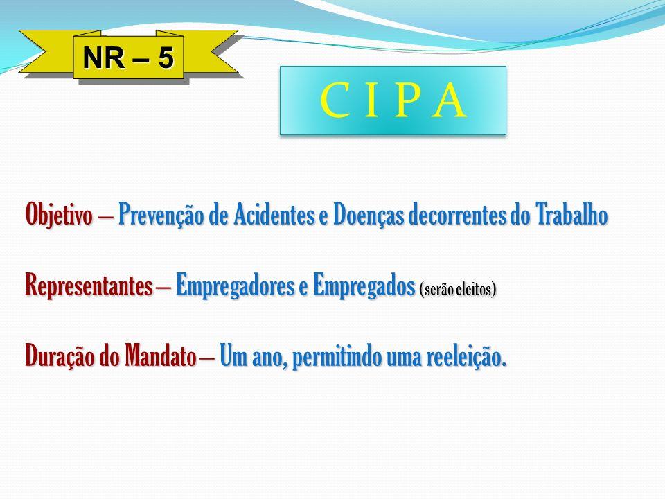 NR – 5 C I P A Objetivo – Prevenção de Acidentes e Doenças decorrentes do Trabalho Representantes – Empregadores e Empregados (serão eleitos) Duração