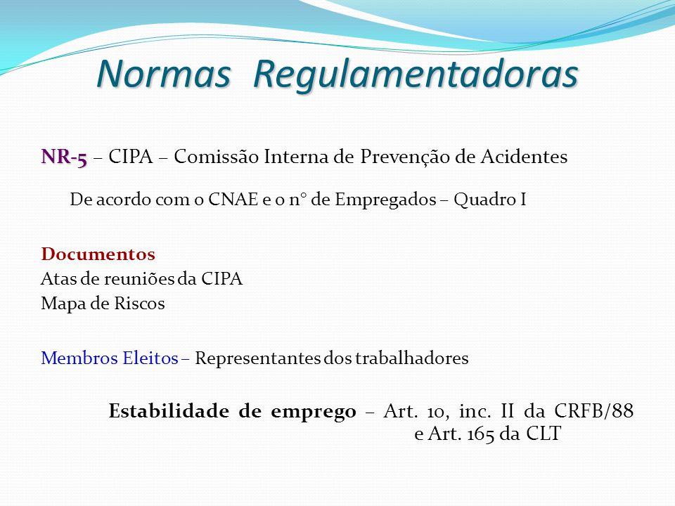 NR-5 NR-5 – CIPA – Comissão Interna de Prevenção de Acidentes De acordo com o CNAE e o n° de Empregados – Quadro I Documentos Atas de reuniões da CIPA