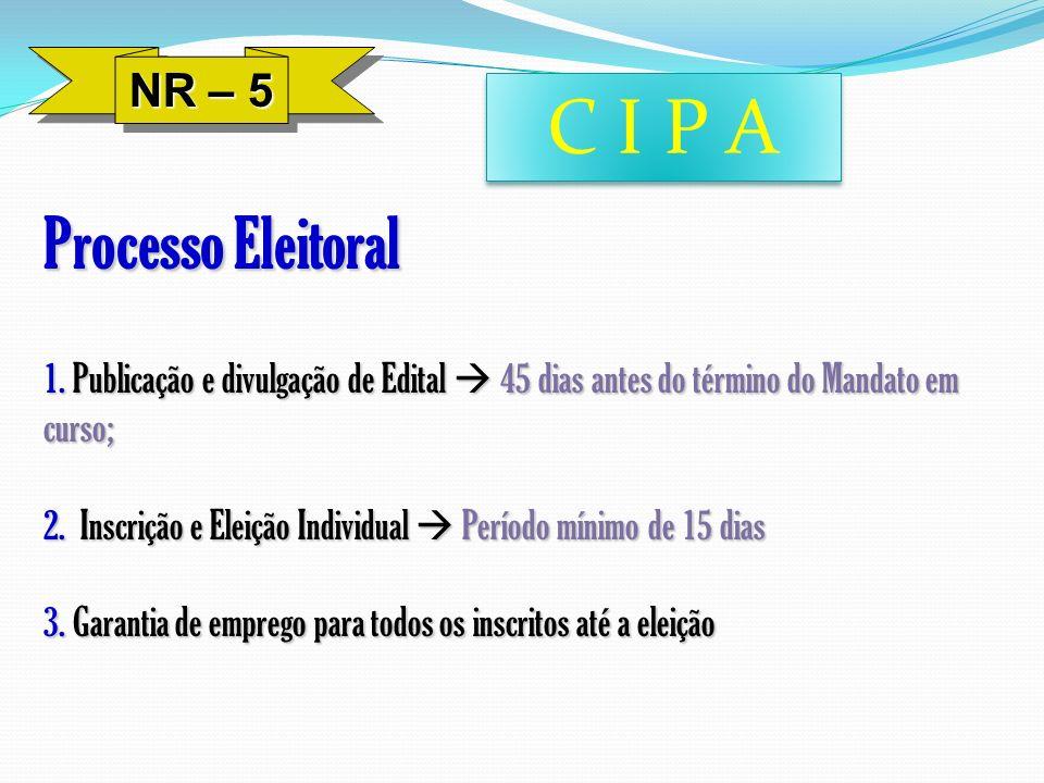 NR – 5 Processo Eleitoral C I P A 1. Publicação e divulgação de Edital 45 dias antes do término do Mandato em curso; 2. Inscrição e Eleição Individual