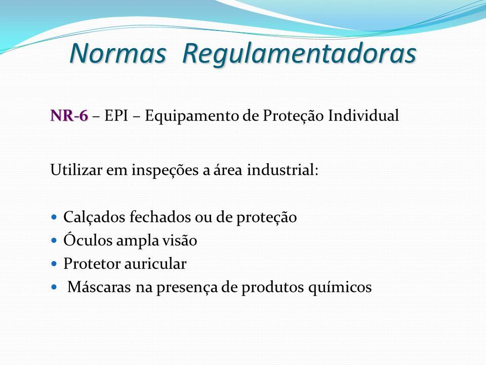 NR-6 NR-6 – EPI – Equipamento de Proteção Individual Utilizar em inspeções a área industrial: Calçados fechados ou de proteção Óculos ampla visão Prot