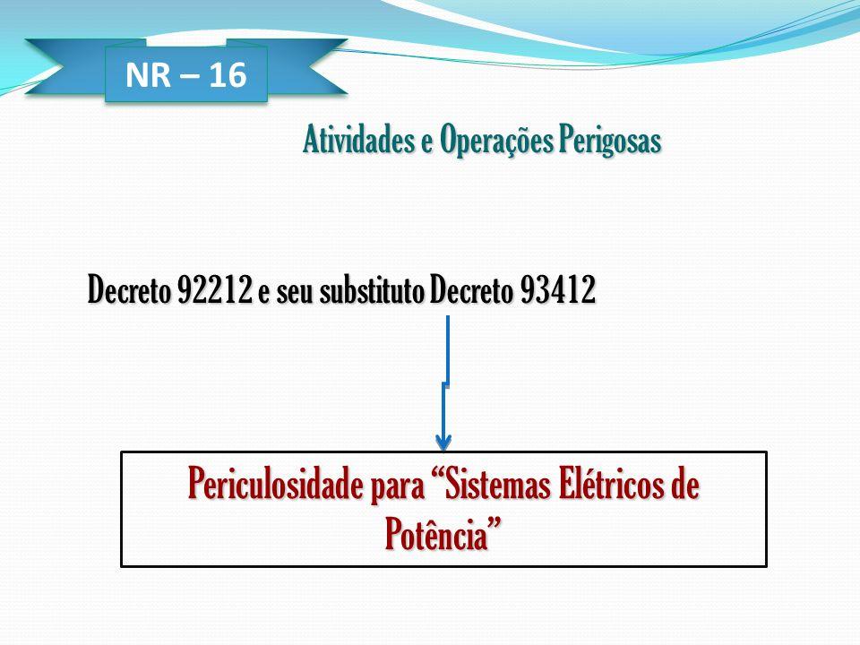 NR – 16 Atividades e Operações Perigosas Decreto 92212 e seu substituto Decreto 93412 Periculosidade para Sistemas Elétricos de Potência