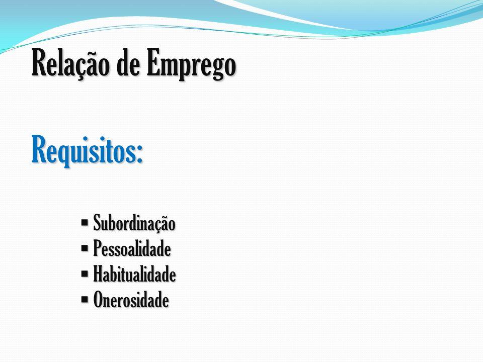 Relação de Emprego Requisitos: Subordinação Subordinação Pessoalidade Pessoalidade Habitualidade Habitualidade Onerosidade Onerosidade