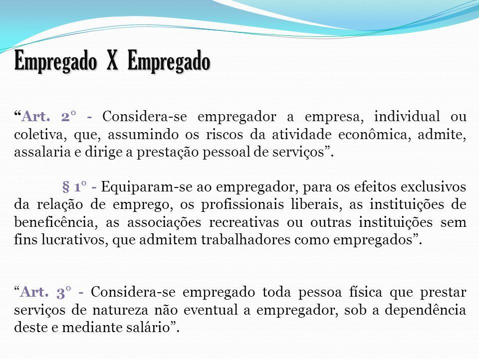 Empregado X Empregado Art. 2° - Considera-se empregador a empresa, individual ou coletiva, que, assumindo os riscos da atividade econômica, admite, as