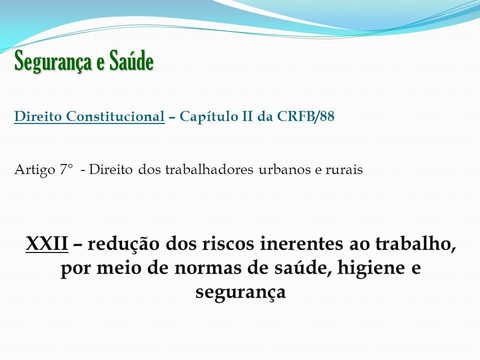 Segurança e Saúde Direito Constitucional – Capítulo II da CRFB/88 Artigo 7° - Direito dos trabalhadores urbanos e rurais XXII – redução dos riscos ine