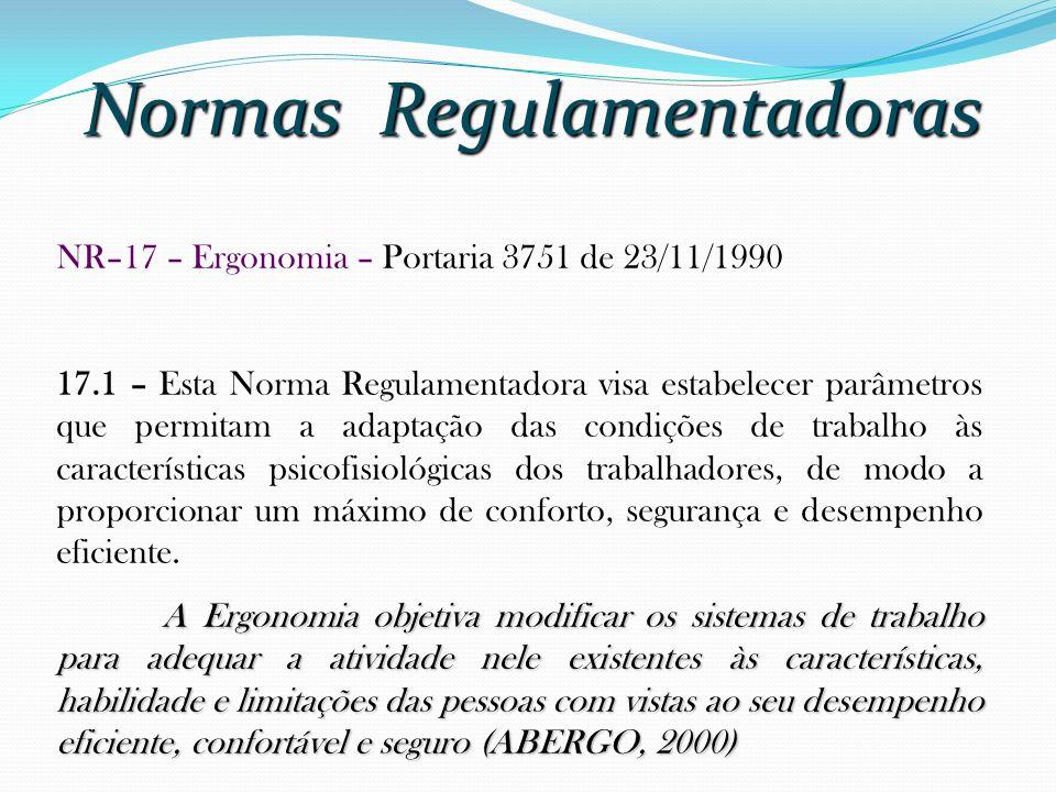 Normas Regulamentadoras NR–17 – Ergonomia – Portaria 3751 de 23/11/1990 17.1 – Esta Norma Regulamentadora visa estabelecer parâmetros que permitam a a