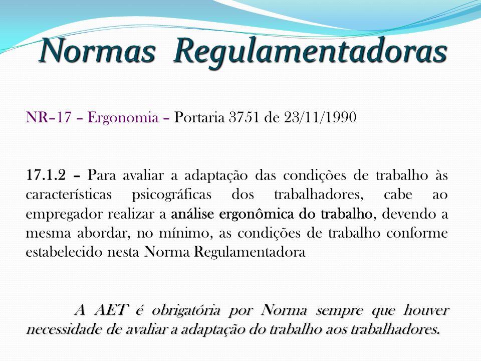 Normas Regulamentadoras NR–17 – Ergonomia – Portaria 3751 de 23/11/1990 17.1.2 – Para avaliar a adaptação das condições de trabalho às características