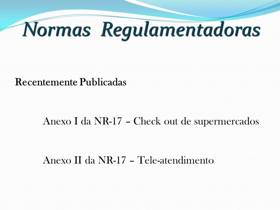 Normas Regulamentadoras Recentemente Publicadas Anexo I da NR-17 – Check out de supermercados Anexo II da NR-17 – Tele-atendimento