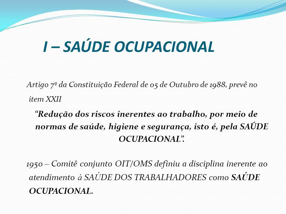 I – SAÚDE OCUPACIONAL Artigo 7º da Constituição Federal de 05 de Outubro de 1988, prevê no item XXII Redução dos riscos inerentes ao trabalho, por mei