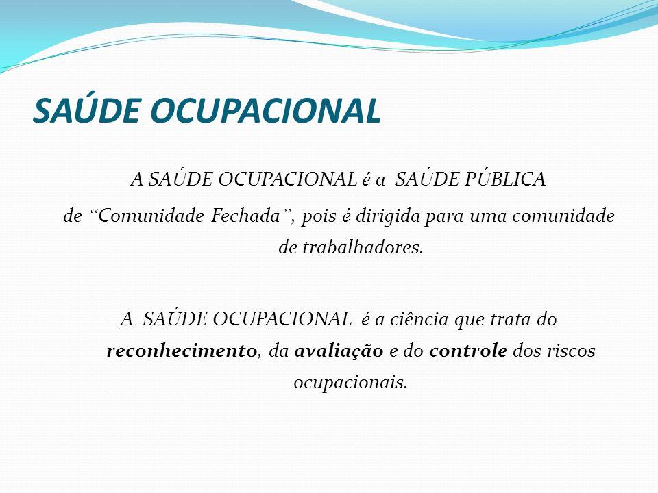 SAÚDE OCUPACIONAL A SA Ú DE OCUPACIONAL é a SA Ú DE P Ú BLICA de Comunidade Fechada, pois é dirigida para uma comunidade de trabalhadores. A SA Ú DE O