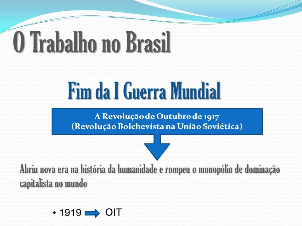 O Trabalho no Brasil Fim da I Guerra Mundial A Revolução de Outubro de 1917 (Revolução Bolchevista na União Soviética) Abriu nova era na história da h