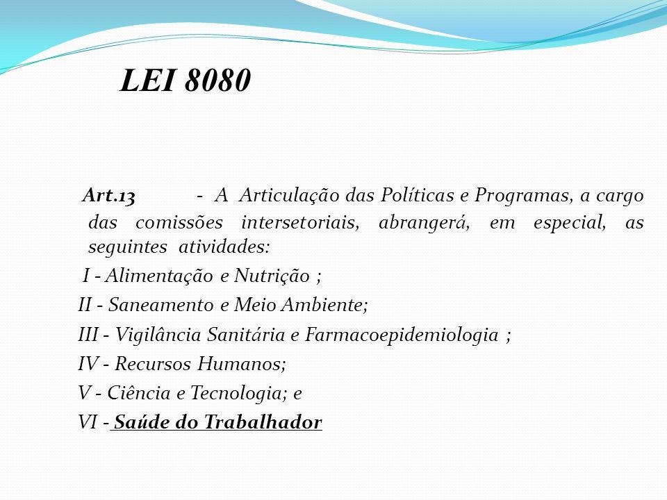 Art.13- A Articula ç ão das Pol í ticas e Programas, a cargo das comissões intersetoriais, abranger á, em especial, as seguintes atividades: I - Alime