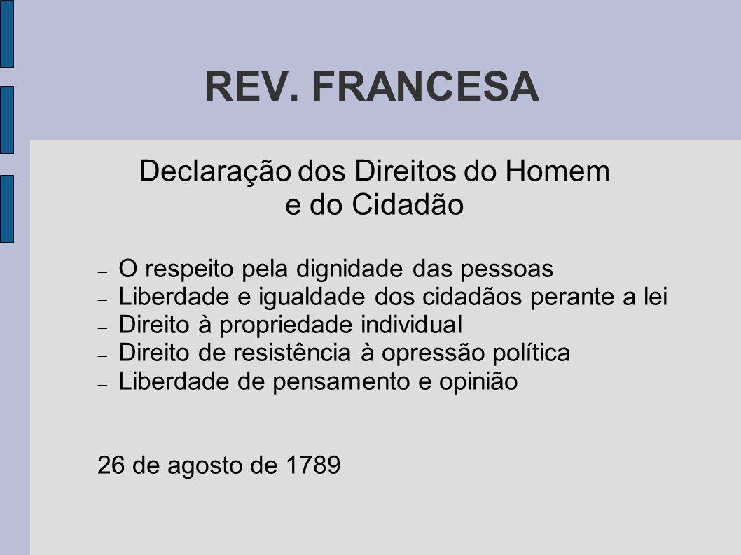 REV. FRANCESA Declaração dos Direitos do Homem e do Cidadão O respeito pela dignidade das pessoas Liberdade e igualdade dos cidadãos perante a lei Dir