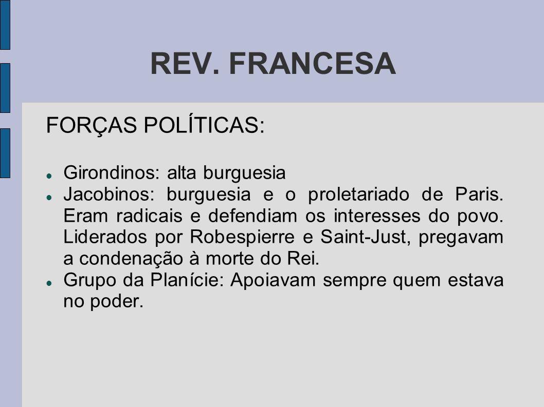 REV. FRANCESA FORÇAS POLÍTICAS: Girondinos: alta burguesia Jacobinos: burguesia e o proletariado de Paris. Eram radicais e defendiam os interesses do