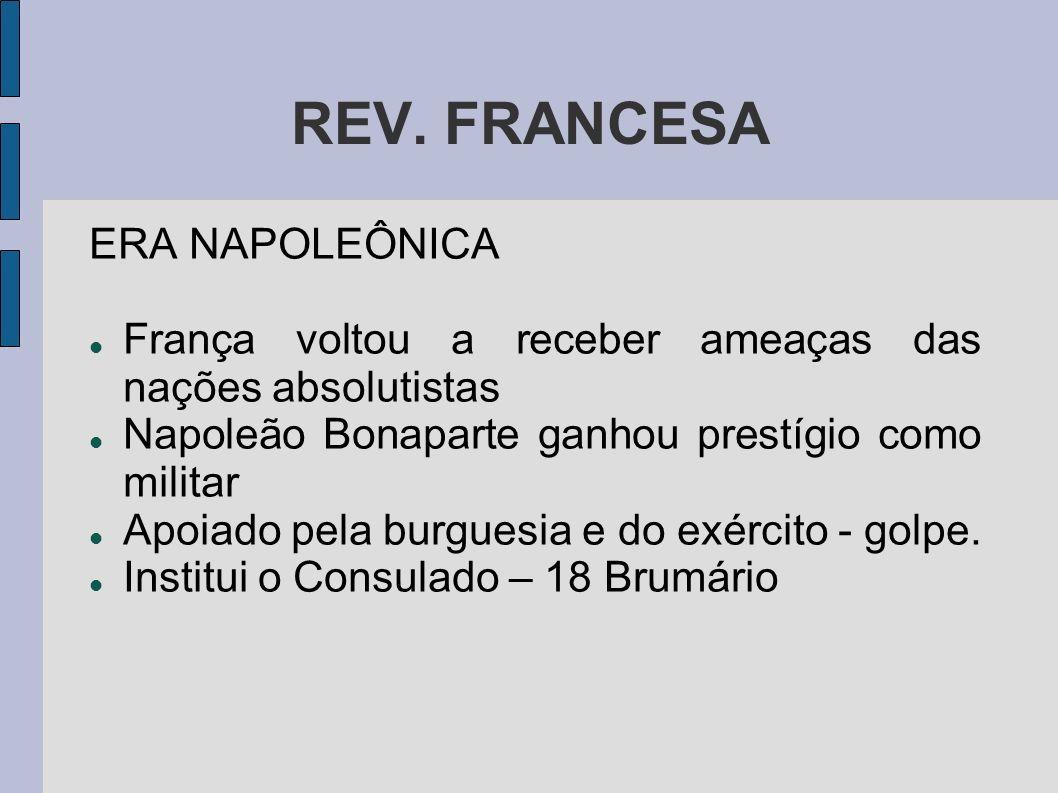 REV. FRANCESA ERA NAPOLEÔNICA França voltou a receber ameaças das nações absolutistas Napoleão Bonaparte ganhou prestígio como militar Apoiado pela bu