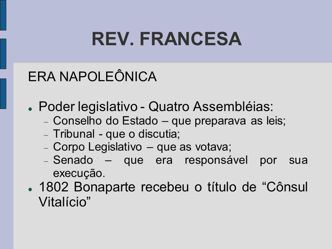 REV. FRANCESA ERA NAPOLEÔNICA Poder legislativo - Quatro Assembléias: Conselho do Estado – que preparava as leis; Tribunal - que o discutia; Corpo Leg