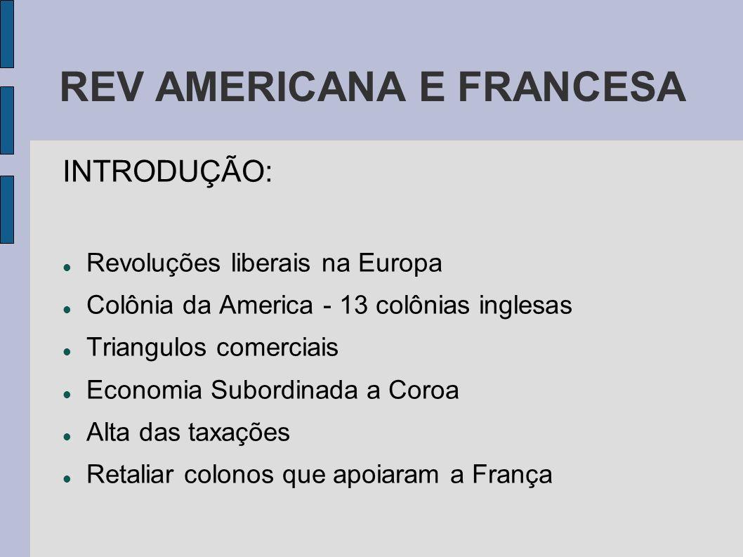 REV AMERICANA E FRANCESA INTRODUÇÃO: Revoluções liberais na Europa Colônia da America - 13 colônias inglesas Triangulos comerciais Economia Subordinad