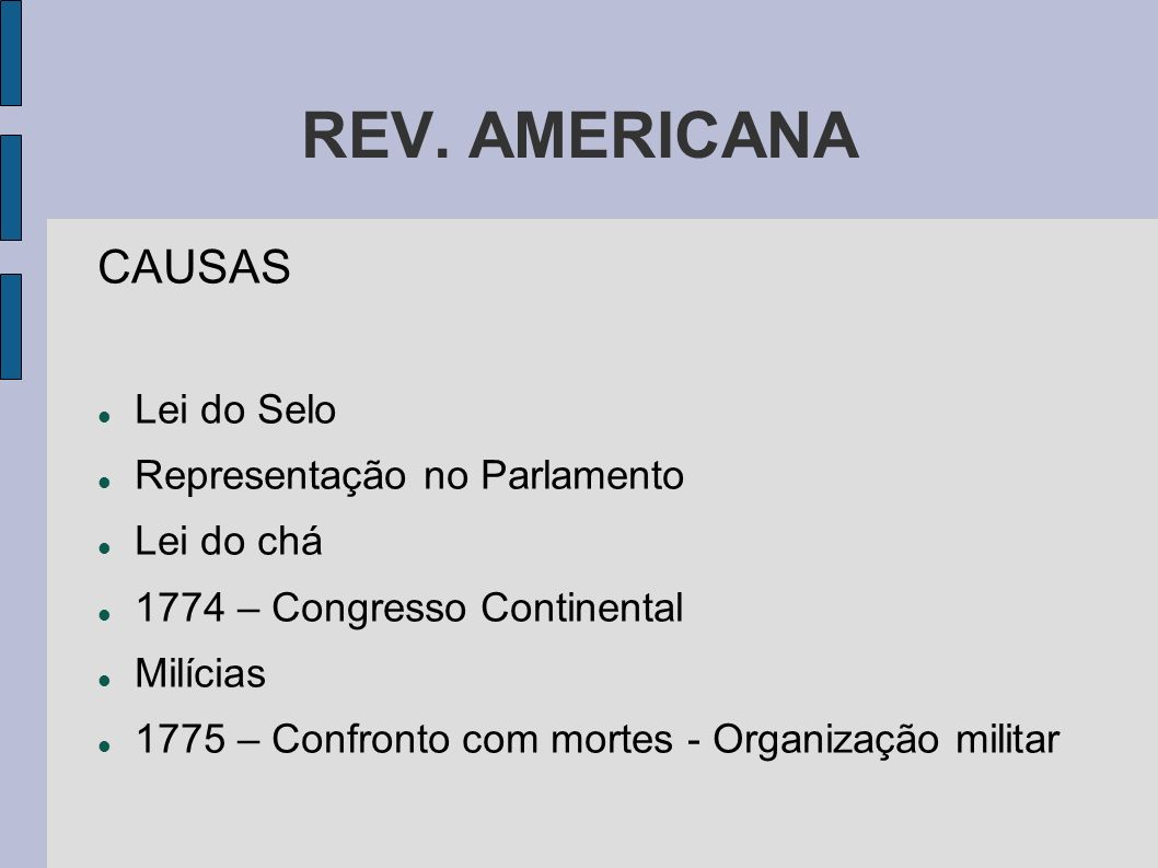REV. AMERICANA CAUSAS Lei do Selo Representação no Parlamento Lei do chá 1774 – Congresso Continental Milícias 1775 – Confronto com mortes - Organizaç