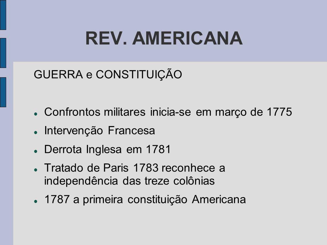 REV. AMERICANA GUERRA e CONSTITUIÇÃO Confrontos militares inicia-se em março de 1775 Intervenção Francesa Derrota Inglesa em 1781 Tratado de Paris 178