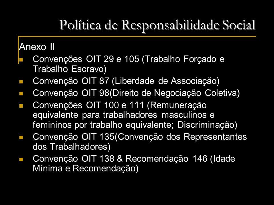Política de Responsabilidade Social Anexo II Convenções OIT 29 e 105 (Trabalho Forçado e Trabalho Escravo) Convenção OIT 87 (Liberdade de Associação)