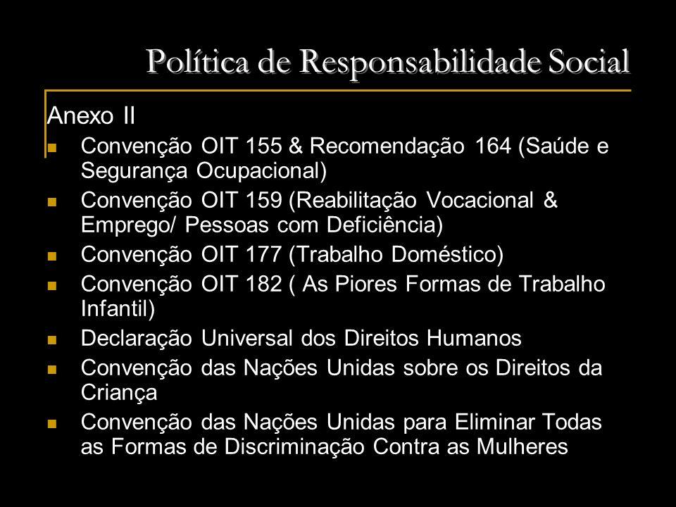 Política de Responsabilidade Social Anexo II Convenção OIT 155 & Recomendação 164 (Saúde e Segurança Ocupacional) Convenção OIT 159 (Reabilitação Voca
