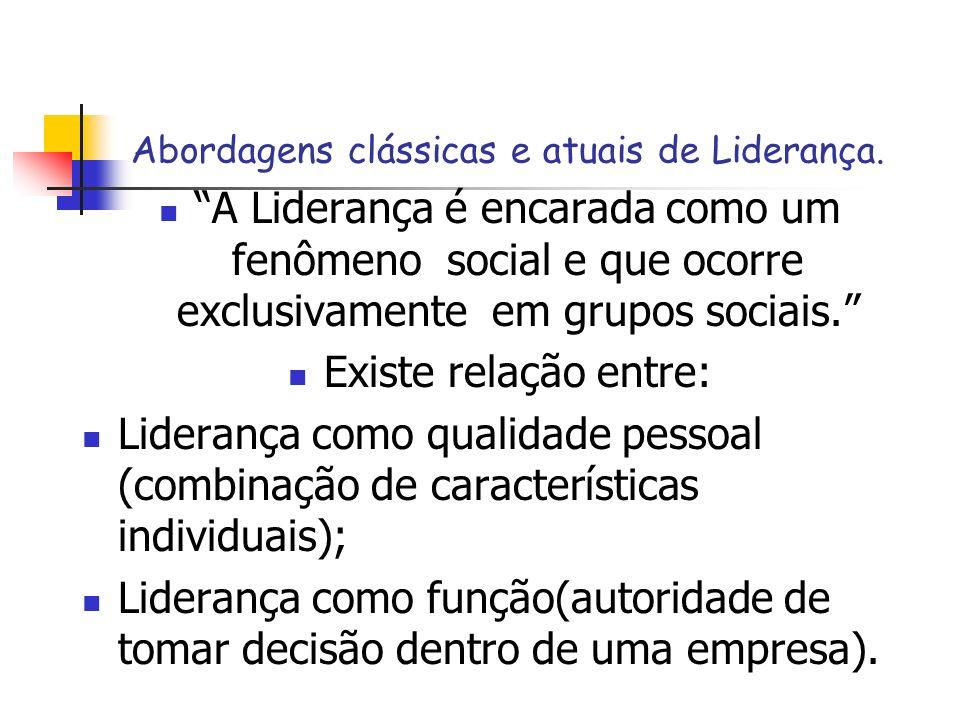 A Liderança é encarada como um fenômeno social e que ocorre exclusivamente em grupos sociais. Existe relação entre: Liderança como qualidade pessoal (