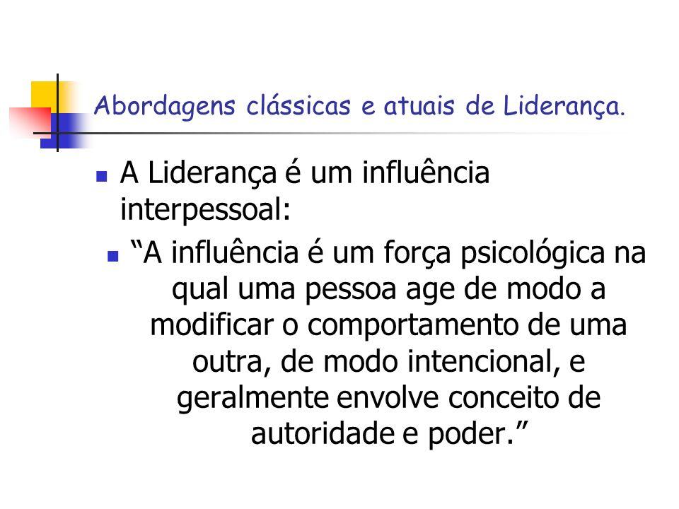 Abordagens clássicas e atuais de Liderança. A Liderança é um influência interpessoal: A influência é um força psicológica na qual uma pessoa age de mo