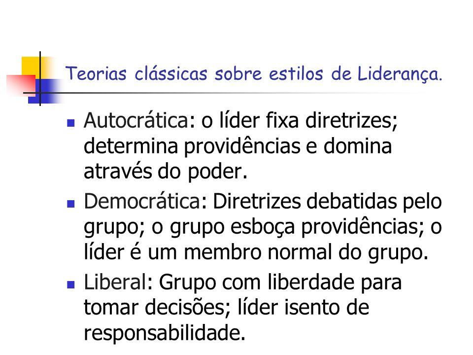 Teorias clássicas sobre estilos de Liderança. Autocrática: o líder fixa diretrizes; determina providências e domina através do poder. Democrática: Dir