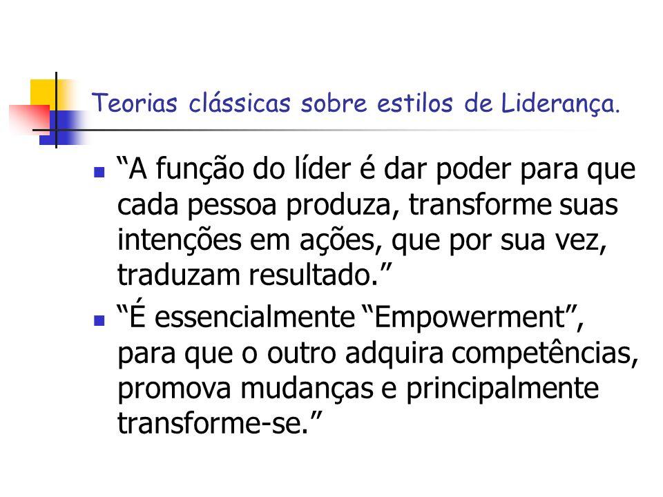 Teorias clássicas sobre estilos de Liderança. A função do líder é dar poder para que cada pessoa produza, transforme suas intenções em ações, que por