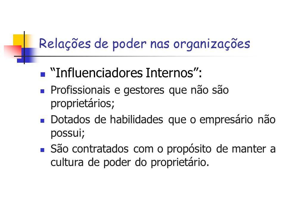 Relações de poder nas organizações Influenciadores Internos: Profissionais e gestores que não são proprietários; Dotados de habilidades que o empresár