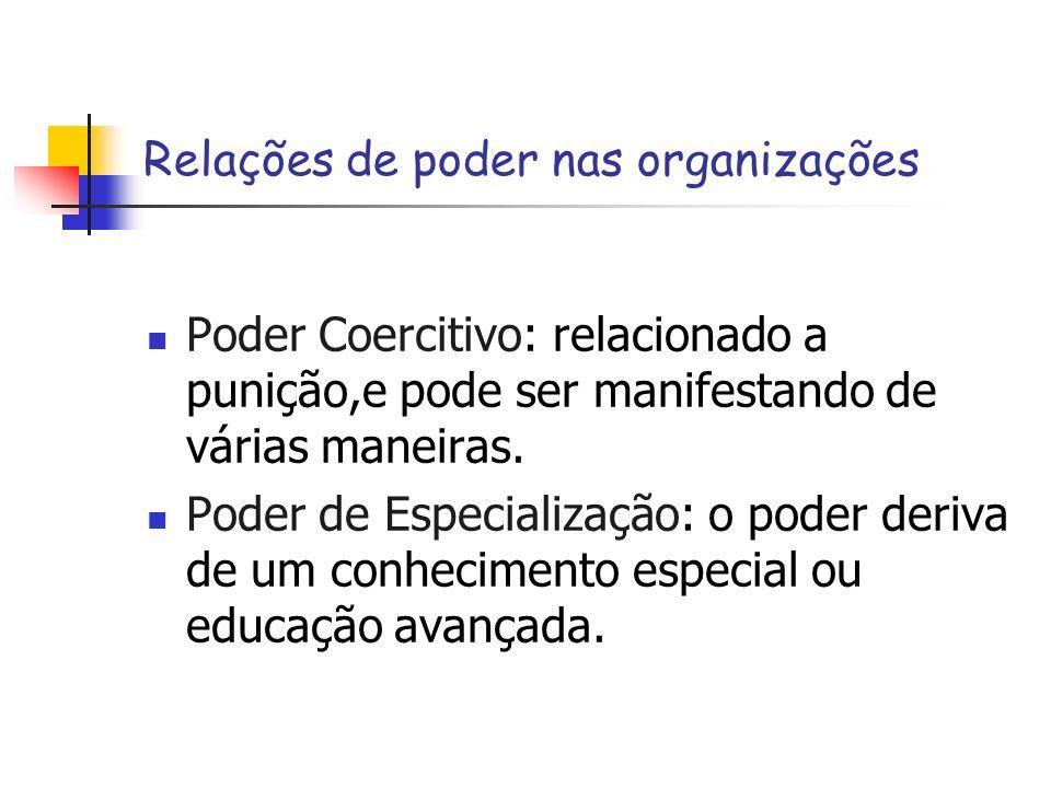 Relações de poder nas organizações Poder Coercitivo: relacionado a punição,e pode ser manifestando de várias maneiras. Poder de Especialização: o pode